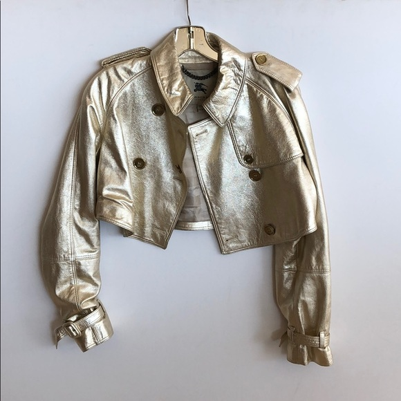 Burberry Jackets & Blazers - burberry lambskin leather gold crop jacket